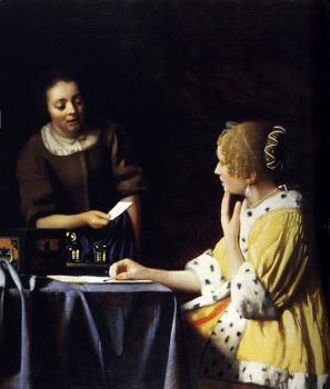 Johannes Vermeer : Mistress and Maid (Lady with Her Maidservant Holding a Letter)